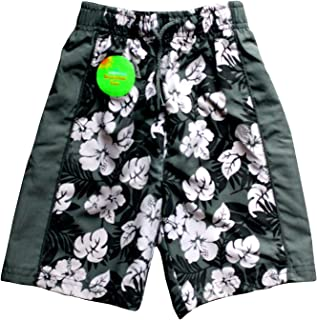 (3 Years) - Original Adams Green & White Floral Boy's Swim Shorts Beach Swimming Trunks 3-10 Years