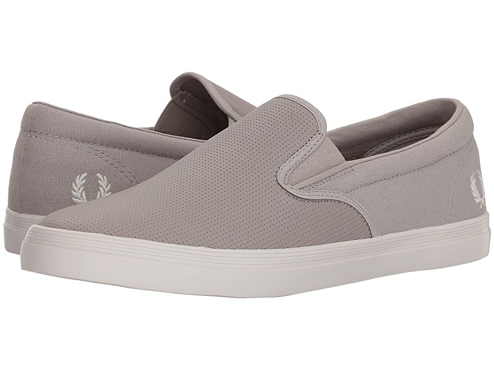 Fred Perry Underspin Slip-On Checkerboard Leather/Canvas (1964 Silver/Snow White) Men