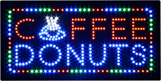 HIDLY LED Coffee Donuts Cafe Espresso Open Light Sign Super Bright Electric Advertising Display Board for Message Business Shop Store Window Bedroom (27 x 15 inches)