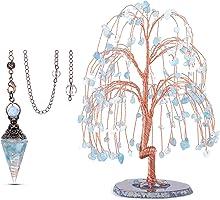 Jovivi Bundle - 2 Items Natural Aquamarine Healing Crystal Pendulums for Dowsing Divination + Natural Healing Crystals Aquamarin Tree Tumbled Gemstone Stones Money Tree