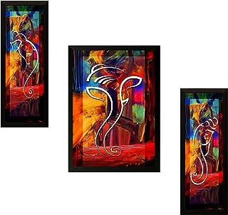 SAF Set of 3 Ganesha Religious UV Coated Home Decorative Gift Item Framed Painting 13.5 inch X 22.5 inch
