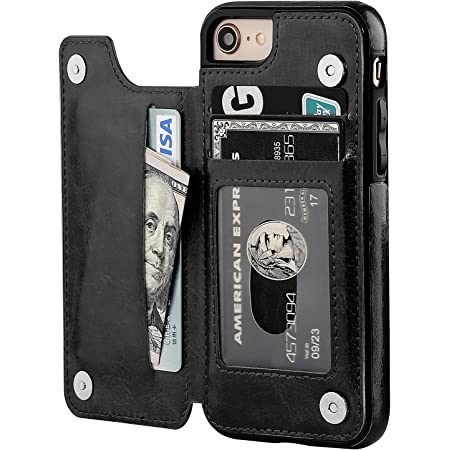 iPhone 8 Wallet Case with Card Holder,OT ONETOP iPhone 7 Case iPhone SE(2020) Wallet Premium PU Leather Kickstand Card Slots,Double Magnetic Clasp and Durable Shockproof Cover 4.7 Inch(Black)