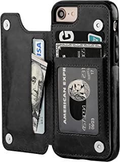 OT ONETOP iPhone 8 Wallet Case with Card Holder, iPhone 7 Case iPhone SE(2020) Wallet Premium PU Leather Kickstand Card Slots,Double Magnetic Clasp and Durable Shockproof Cover 4.7 Inch(Black)