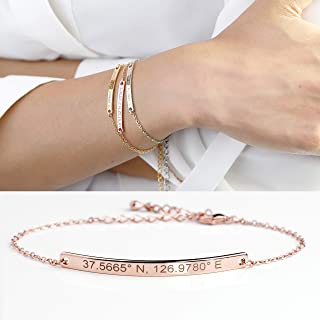 b37ec29b6 Personalized Name Plate Gold Bar Bracelet in Handmade Wedding Jewelry for  Women Bridesmaid Gifts Anniversary Best