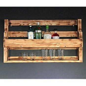 Whisky étagère VIN VERRE WHISKY VERRES Support bouteilles étagère bois vintage blanc
