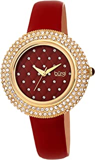 Burgi Women's BUR207 Swarovski Crystal Encrusted Quilted Dial Satin Leather Strap Watch - Packed in a Beautiful Gift Box, ...
