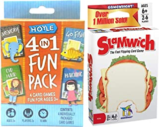 Fish Sandwich Matching Old Maid Memory Cards Slamwich Flipping Game Bundled with 4 in 1 Fun Pack
