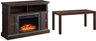 Whalen Furniture Media Fireplace and TV Console Combo, Cherry Bundle with Mainstays Parsons Coffee Table, Lightweight, Canyon Walnut