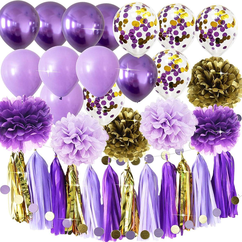 Qian's Party Purple Gold Party Decorations Tissue Paper Pom Pom Purple Gold Confetti Ballons Birthday Decorations Purple Bridal Shower Decorations (Purple Gold Confetti)