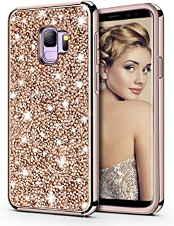 HoneyAKE Case for Galaxy S9 Case Glitter Bling Luxury Sparkly Crystal Rhinestone Diamond Dual Layer High Impact Hard PC Back Cover Soft Bumper Shockproof Protective Case for Galaxy S9, Champagne