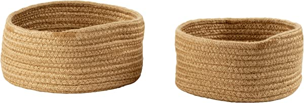 Woven Storage Baskets 2 Pack Hemp Rope Baskets Decorative Hampers Collapsible Rope Storage Bins For Toys Towels Blankets Nursery Kids Room 2 Sizes Brown