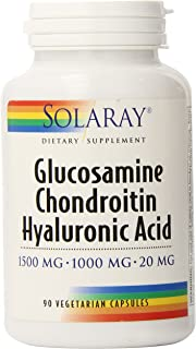 Solaray Glucosamine Chondroitin and Hyaluronic Acid, 1500mg/1000mg/20mg | 90 Capsules