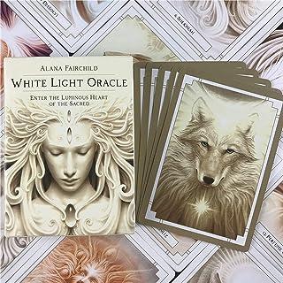 ホワイトライトオラクル 占い運命タロットカードデッキボードゲームパーティー用品、運命予測カードゲームセット