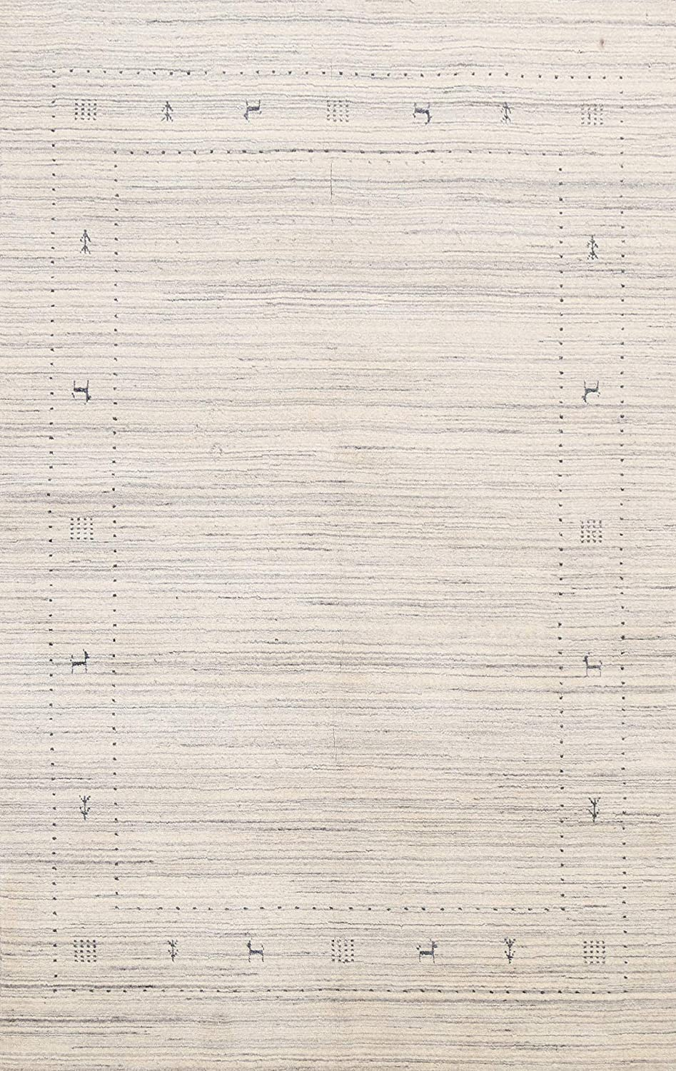 Tribal Animal sold out Pictorial Oriental Gabbeh Hand-Knotted Rug Wo Area 67% OFF of fixed price