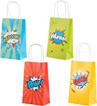 Superhero Comic Book Gift Bags – 24-Pack Kids Treat Bags with Handles, Paper Goodie Bags for Retail, Gifts, Party Favors, 4 Assorted Designs, 9 x 5.3 x 3.15 Inches