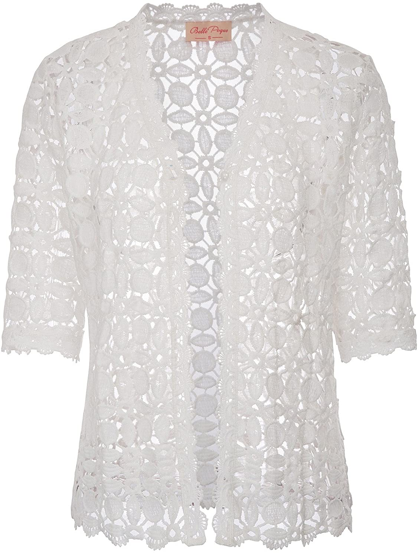 Belle Poque Women's Lace Shrug Scalloped Milwaukee Mall Cardigan Half Sleeve cheap Tr