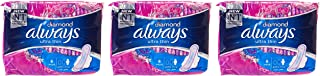 Always Diamond Ultra Thin Extra Long Sanitary Pads with Wings, 6 Count Triple Pack '