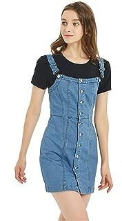 Women's Button Front Classic Adjustable Strap Overall Denim Skirt Dress