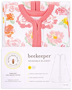 Burt's Bees Baby - Beekeeper Wearable Blanket, 100% Organic Cotton, Swaddle Transition Sleeping Bag