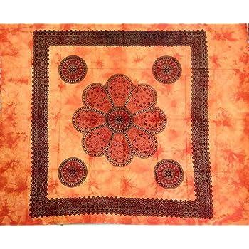 Telo Copritutto Grande Oriente 100/% Cotone Indiano Stampato 210x240 cm Arancione