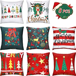 Patelai 8 Pieces Christmas Pillow Covers Merry Christmas Throw Cushion Covers 18 x 18 Inch Christmas Tree Reindeer Gift Pi...