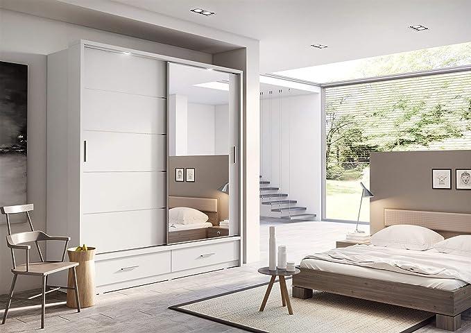 Weisser Kleiderschrank mit Spiegel und Schubladen