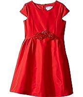 Us Angels - Silk Taffeta Cap Sleeve Dress w/ Flower Trim (Toddler/Little Kids)