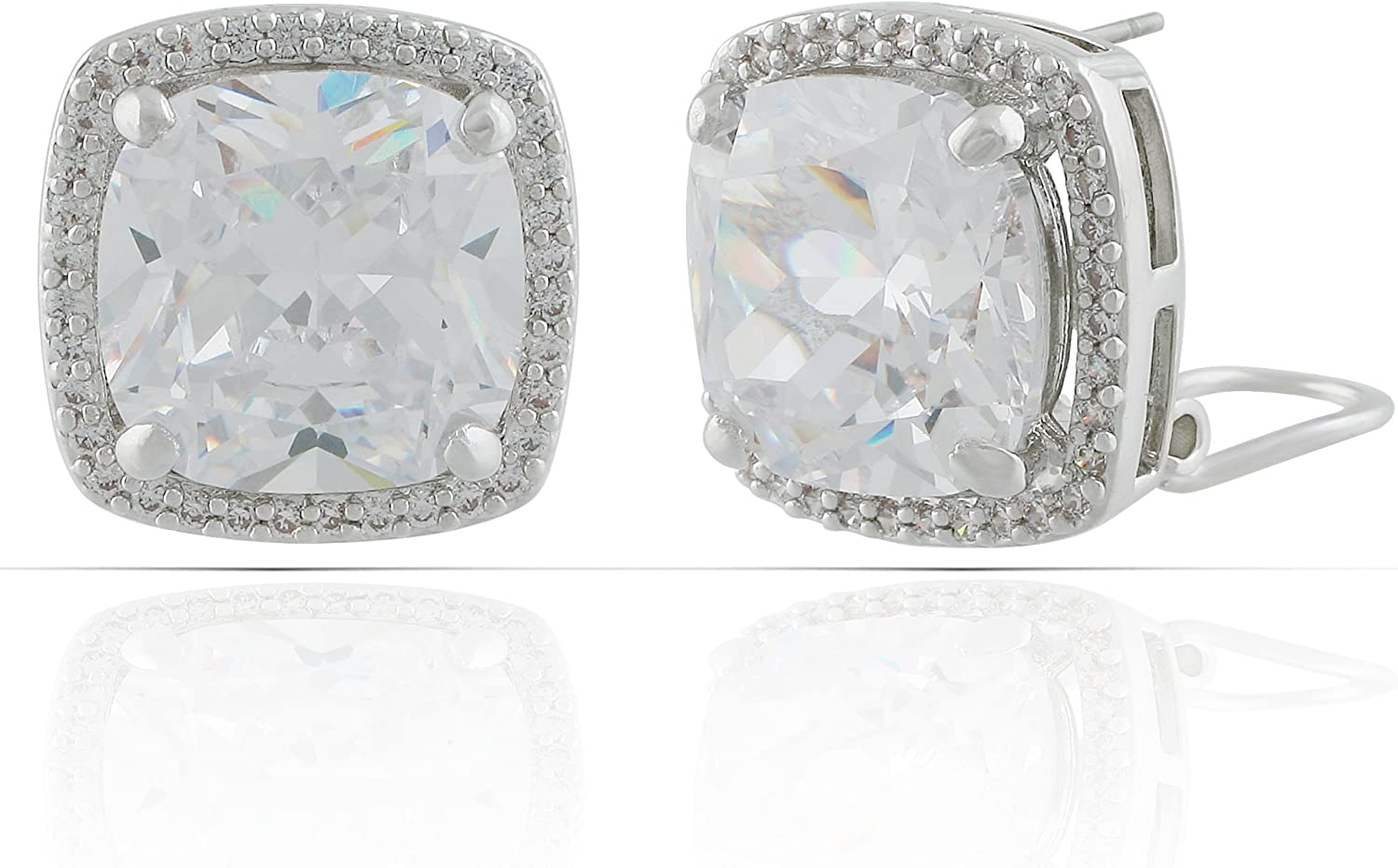 JanKuo Jewelry Rhodium Plated Cushion Cut Halo Cubic Zirconia French Clip Earrings