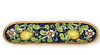 CERAMICHE D'ARTE PARRINI- Ceramica italiana artistica, porta baguette o antipasti decorazione limoni, dipinto a mano, made...