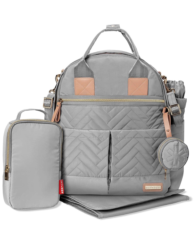 Skip Hop Diaper Bag Backpack: Suite 6-in-1 Diaper Backpack Set, Multi-Function Baby Travel Bag with Changing Pad, Stroller Straps, Bottle Bag and Pacifier Pocket, Dove Grey
