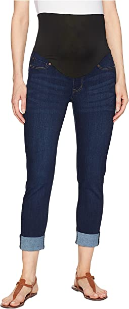 Maternity Crop Wide Cuff in Premium Super Stretch Denim in Lakewood Mid