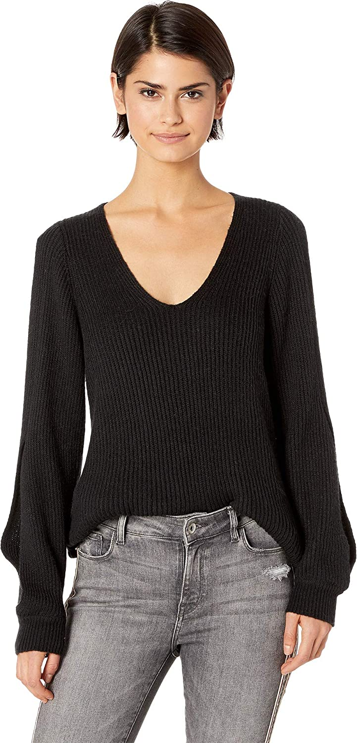 1.STATE Womens Cold Shoulder VNeck Sweater w Twist Sleeves