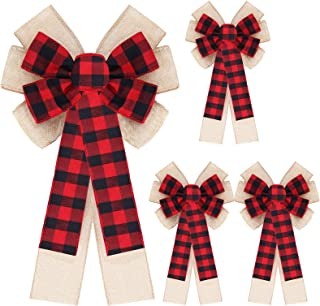 4 Pieces Christmas Buffalo Plaid Burlap Bows 9 x 16 Inch Christmas Wreath Bow Red and Black Checkered Wired Bow Rustic Burlap Ribbon Bow Double Layer Christmas Tree Bow for Home Decoration