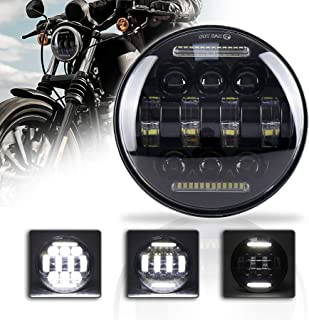 ZJUSDO Motorcycle 5-3/4 5.75 LED Headlight with White DRL Driving Headlight for Harley Davidson Dyna Sportster 1200