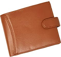 RAS Mens RFID Blocking Soft Smooth Genuine Leather Wallet with A Zipped Coin Pocket and Id Card Window (Tan)