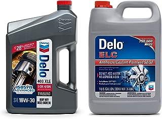 Chevron Delo 400 XLE Synblend SAE 10W-30 Heavy Duty Motor Oil, 1-Gallon bundle with Delo ELC Antifreeze and Coolant Premixed 50/50