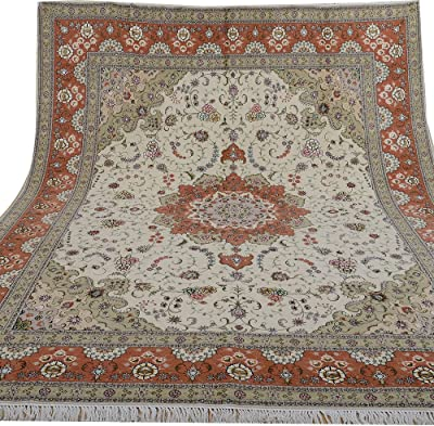 Yilong 8'x10' Hand Knotted Wool Silk Rug Handmade Tabriz Persian Oriental Traditional Thick Carpet (8-Feet-by-10-Feet, Light Green & Red) WS1332