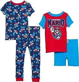 Super Mario Four-Piece Short Sleeve Cotton Set (Little Kids/Big Kids)