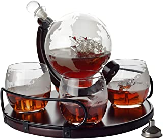 Whiskey Decanter Etched Globe NEW 2019 Gift Set- 4 glasses with NEWEST Wood Stand and Handles - Perfect Gift Set for Liquor, Scotch, Bourbon, Vodka