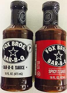 Fox Bros. Bar-B-Q Sauce, 2 flavors, 1-Spicy & 1-Bar-B-Q 16oz bottles- Official bar-b-q of that Atlanta Falcons