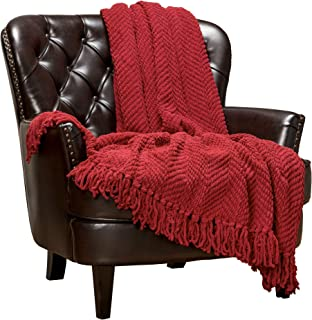 Chanasya Textured Knitted Super Soft Throw Blanket with Tassels Warm Cozy Plush Lightweight Fluffy Woven Blanket for Bed Sofa Chair Couch Cover Living Bed Room Acrylic Red Throw Blanket (50x65)- Red
