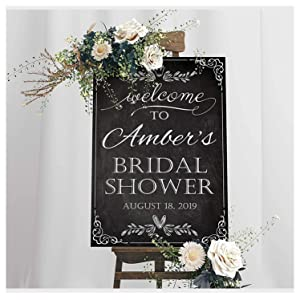 Chalkboard Bridal Shower Party Sign; Size 24x18, 36x24 and 48x36 Welcome Sign, Black and White Signs, Bridal Shower Decor, Bridal Shower Gifts, Bridal Party Decor, Chalkboard Wedding Supply Poster