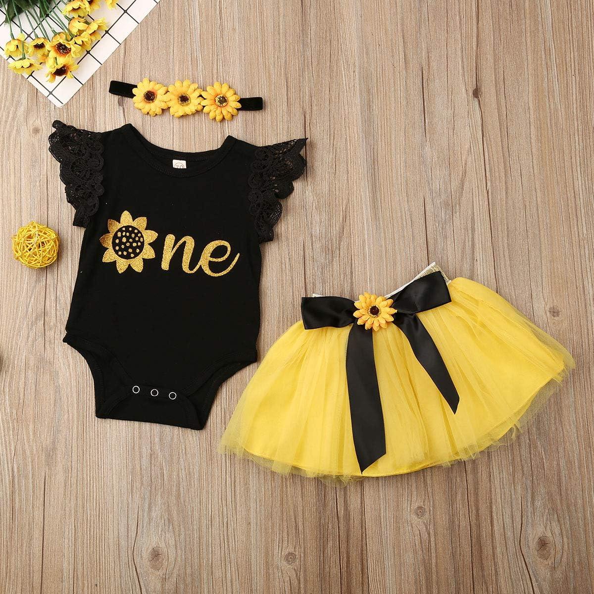 Newborn Infant Baby Girl Birthday Outfits One Romper Bodysuit Tops+Tutu Skirt Dress Clothing Sets