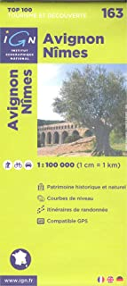 Avignon, Nimes (Francia, Languedoc-Roussillon, Provence-Alpes-Côte d'Azur), 1:100.000, senderismo topográfico, ciclismo y giras mapa, N º 163 IGN