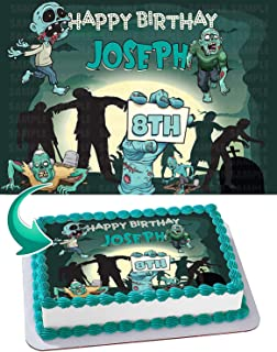 Terrific, Horror, Zombie Edible Image Cake Topper Party Personalized 1/4 Sheet