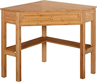 Target Marketing Systems Bamboo Corner Desk with One Drawer and One Storage Shelf, Natural Finish