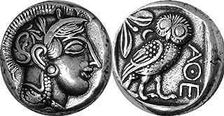 Athena and Owl, Goddess of Wisdom, Mark of Athena, Greek Coins, Greek Mythology (12-S)
