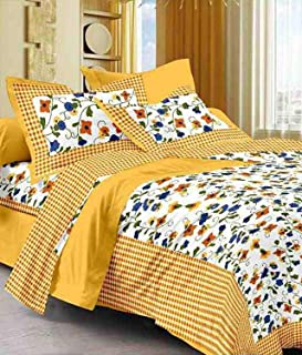 BedZone 100% Cotton Rajasthani Jaipuri Traditional King Size Double Bed Bedsheet with 2 Pillow Covers