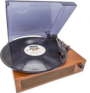 MOETATSU レコードプレーヤー ターンテーブル スピーカー内蔵 Bluetooth対応 RCA音声出力端子 33/45/78回転対応  ダストカバー付き レーコドマット付き 予備レコード針付き