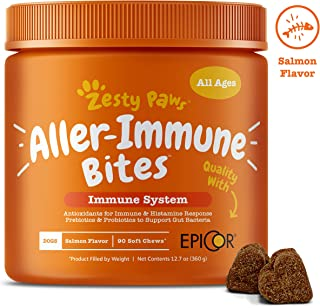 Zesty Paws Allergy Immune Supplement for Dogs – with Omega 3 Wild Alaskan Salmon..